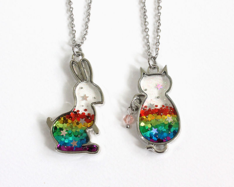Rainbow Cat Glitter Necklace - product images  of