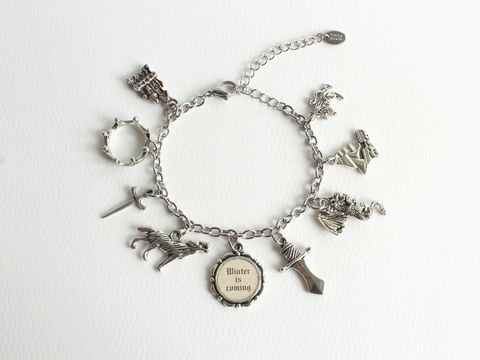 Winter,is,Coming,Charm,Bracelet,(GOT),Stainless,Steel,Chain,Charm bracelet, winter is coming bracelet, GOT charm bracelet, GOT bracelet, GOT jewelry, game of thrones charm bracelet, game of thrones jewelry, game of thrones bracelet