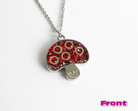 Red,Glitter,Mushroom,Necklace,red glitter mushroom necklace, red mushroom necklace, glitter necklace, red silver glitter necklace, shiny mushroom necklace, cute mushroom necklace, red poison mushroom necklace
