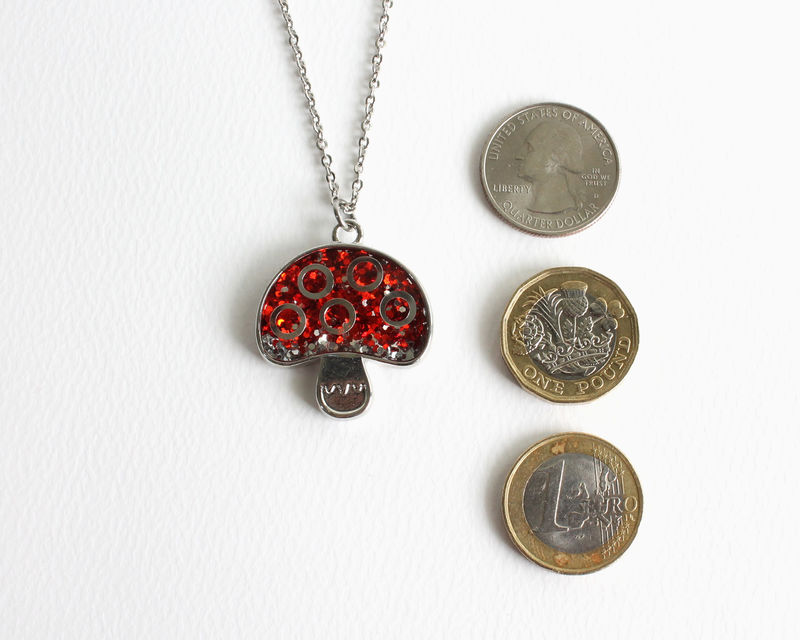 Red Glitter Mushroom Necklace - product images  of