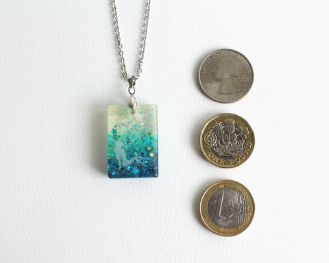Fairy in Blue Glitter Necklace - product images  of