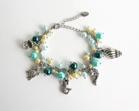 Mermaid,and,Friends,Charm,Bracelet,Stainless,Steel,Chain,mermaid bracelet, little mermaid, mermaid charm bracelet, sea bracelet, beach bracelet, aqua bracelet