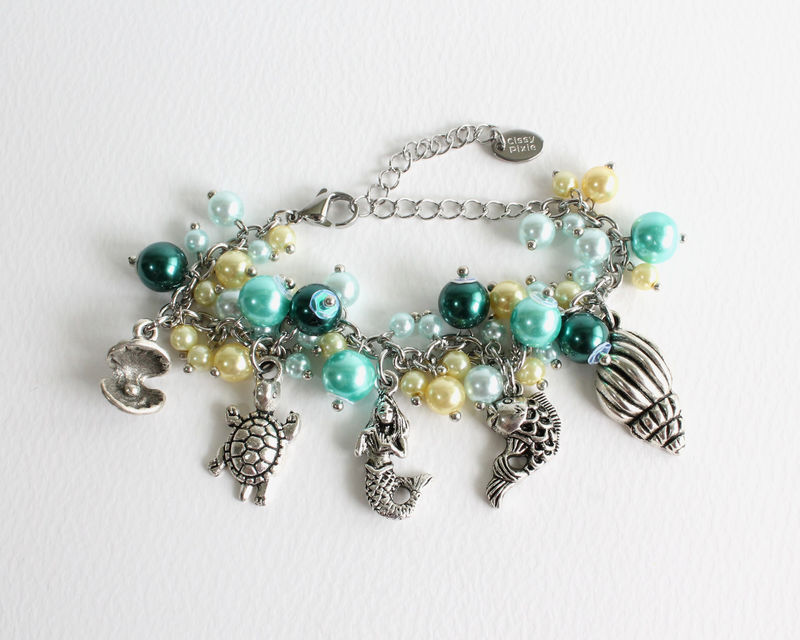 Mermaid and Friends Charm Bracelet Stainless Steel Chain - product images  of