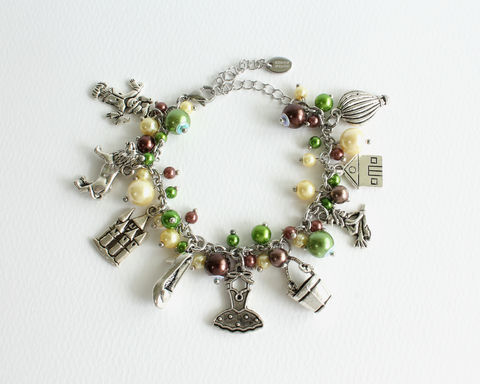 Oz,Charm,Bracelet,Stainless,Steel,Chain,oz charm bracelet, oz bracelet, wizard of oz bracelet, emerald city bracelet, wicked witch bracelet, wicked witch of the west, elphaba, glinda, galinda, elphie, wicked bracelet, realm bracelet, fairytale land bracelet