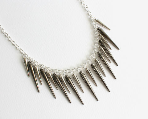 Spiky,Long,Necklace,(3,color,choice),spiky necklace, spiky long necklace, spikes long necklace, spikes necklace, silver spikes necklace, pink black long necklace, pink spikes, long spikes necklace