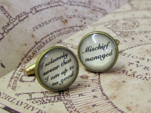 Marauders,Spells,Cuff,Links,harry potter cuff links, marauders map cuff links, marauder map cuff links, mischief managed cuff links, solemnly swear cuff links, i solemnly swear i am up to no good cuff links