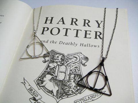Deathly,Symbol,Necklace,(Silver,or,Black),deathly hallow necklace, harry potter necklace, xenophilius lovegood necklace, luna lovegood, grindelwald necklace, black deathly hallows necklace