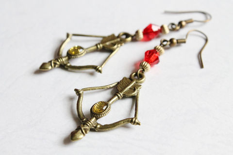 Bow,&,Arrow,Earrings,(Red),bow and arrow earrings, bronze earrings, bronze bow arrow earrings, glitter bow and arrow earrings, bronze bow and arrow, hunger games earrings, katniss everdeen earrings, bronze red earrings