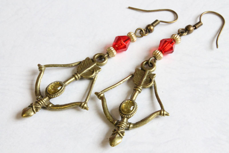 Bow & Arrow Earrings (Red) - product images  of