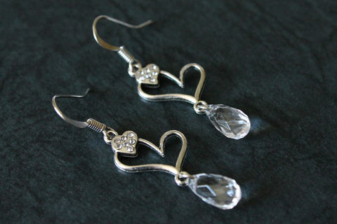 Heart,Outline,Earrings,with,Mini,Crystals,and,Clear,Teardrop,Dangle,heart earrings