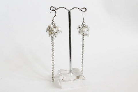 Silver,Balls,with,Long,Tassels,Earrings,silver balls, long tassel earrings