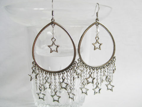 Star,Curtain,Earrings,starry earring, silver star earring, stars earring, mini star earring, small star earring, star curtain earring
