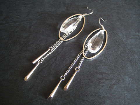 Silver,Oval,Hoop,with,Long,Tassels,and,Large,Teardrop,Earrings,silver oval hoop earrings, oval dangle earrings, oval tassel earrings
