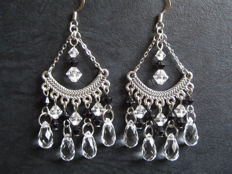 Chandelier,Earrings,with,Black,and,Clear,Teardrop,Beads,black and clear crystal earring, chandelier earrings, clear chandelier earring
