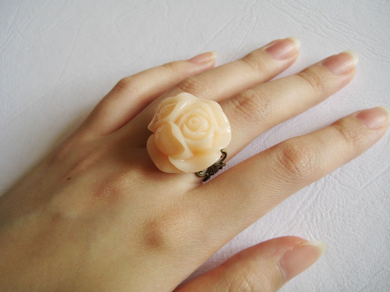 Large Nude Color Rose Ring - product images  of