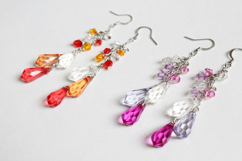 Tri-color,Water,Droplet,Earrings,(2,colors,available),teardrop earrings, water drop earrings, droplet earrings, crystal dangle earrings, purple crystal earrings, red crystal earrings