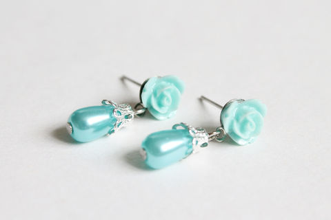 Mini,Turquoise,Rose,Earring,Studs,with,Dangling,Teardrop