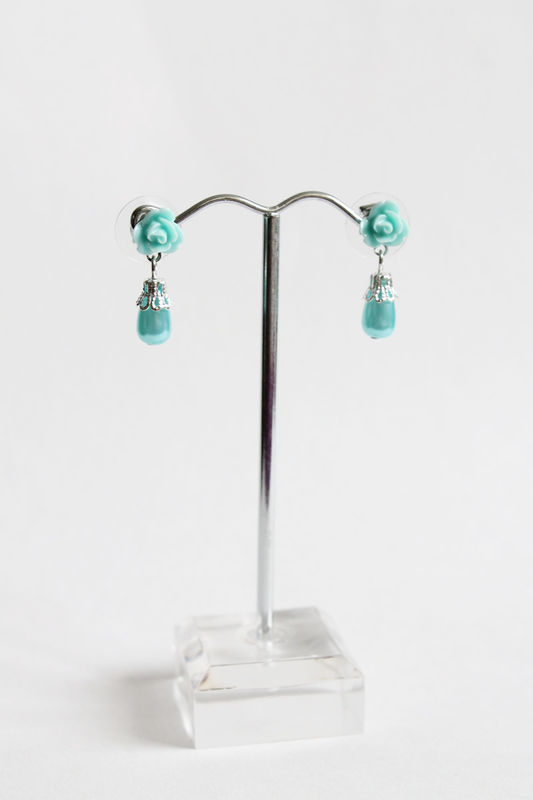 Mini Turquoise Rose Earring Studs with Dangling Teardrop - product images  of