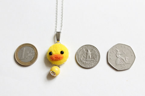 Needle Felted Duckie Necklace or Brooch or Ring or Shawl Pin - product images  of