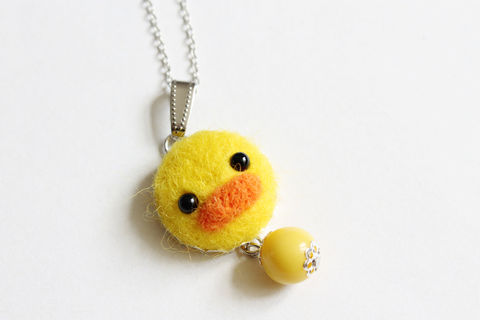 Needle,Felted,Duckie,Necklace,or,Brooch,Ring,Shawl,Pin,needle felted duck, wool felted duck, duck necklace, duckie necklace, duck ring, duck brooch, yellow duck