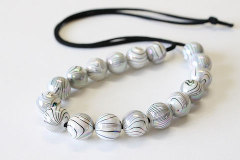 White,stripe,bead,long,necklace