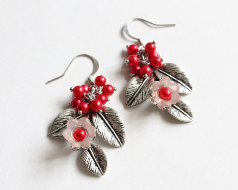 Flower,Branch,with,Fruits,Earrings,(2,colors,available),flower branch earrings, flower leaves fruit earrings, red white earrings, purple white earring, pink flower earrings, white flower earrings, purple flower earrings, fruit earrings, leaf branch earrings