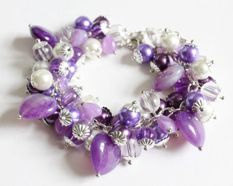 Purple,Hearts,and,Pearly,Beads,Cluster,Bracelet,Earrings,Set