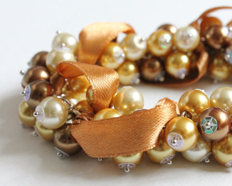Golden,Bronze,Cluster,Bracelet,with,Ribbon,and,Earrings,Set,gold bracelet, gold cluster bracelet, bronze cluster bracelet, bronze bracelet, gold brown bracelet, gold wedding, golden wedding, gold bridesmaid, golden bridesmaid, golden brown bracelet, gold pearl bracelet, brown pearl bracelet, bracelet earring set