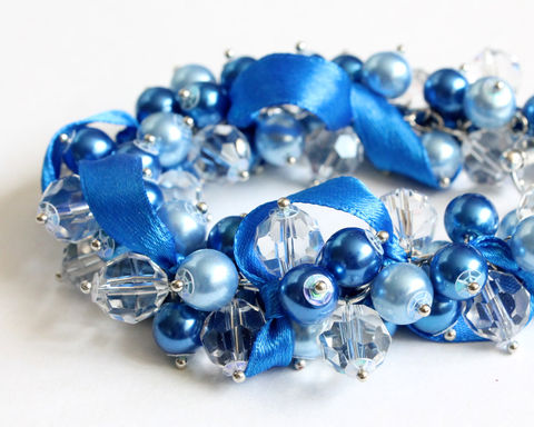 Blue,Pearl,Cluster,Bracelet,and,Earrings,Set,cluster bracelet, blue cluster bracelet, blue bracelet, blue pearl bracelet, cluster bracelet with ribbon, ribbon cluster bracelet, blue bridesmaid, blue wedding, blue bridesmaid jewelry, bridesmaid jewelry set