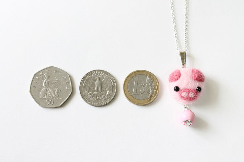 Needle Felted Piggy Necklace - product images  of