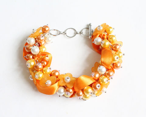 Pumpkin Orange Flower Cluster Bracelet and Earrings Set - product images  of
