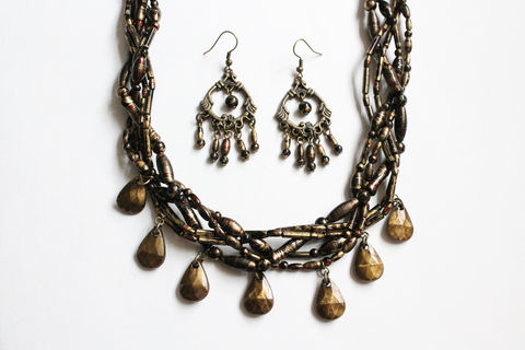 Chunky,Bead,Braided,Necklace,and,Earring,Set,chunky necklace, bronze chunky necklace, braided necklace, necklace earring set, bronze theme necklace earring set
