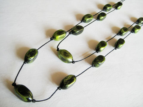 Metallic,Green,Long,Double,Necklace,green necklace, double necklace, metallic green necklace, green black bead necklace