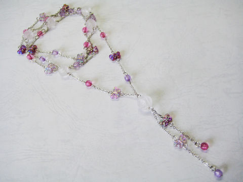 Frosted,White,Rose,with,Tiny,Purple,Butterflies,Long,Necklace,long necklace, butterfly necklace, white rose necklace