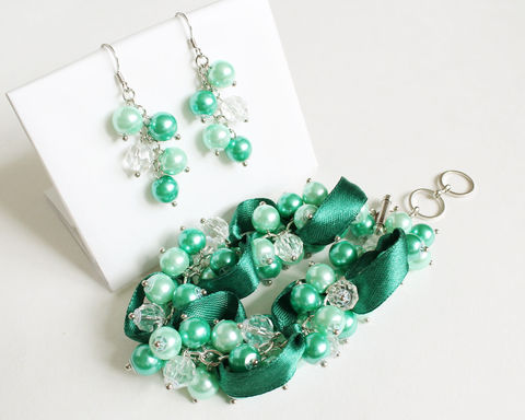 Turquoise Mint Green Cluster Bracelet and Earrings Set - product images  of