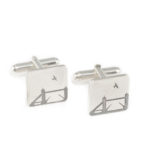 Tower,Bridge,Cufflinks,cufflinks, silver, etched, oxidised, Tower Bridge, London, London Bridge