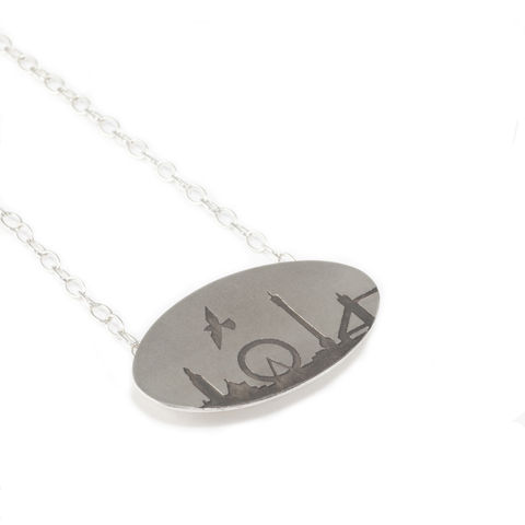 London,Skyline,Pendant,pendant, silver, London, Nelson's Column, London Eye, Houses of Parliament, Tower Bridge, oxidised silver, silver chain