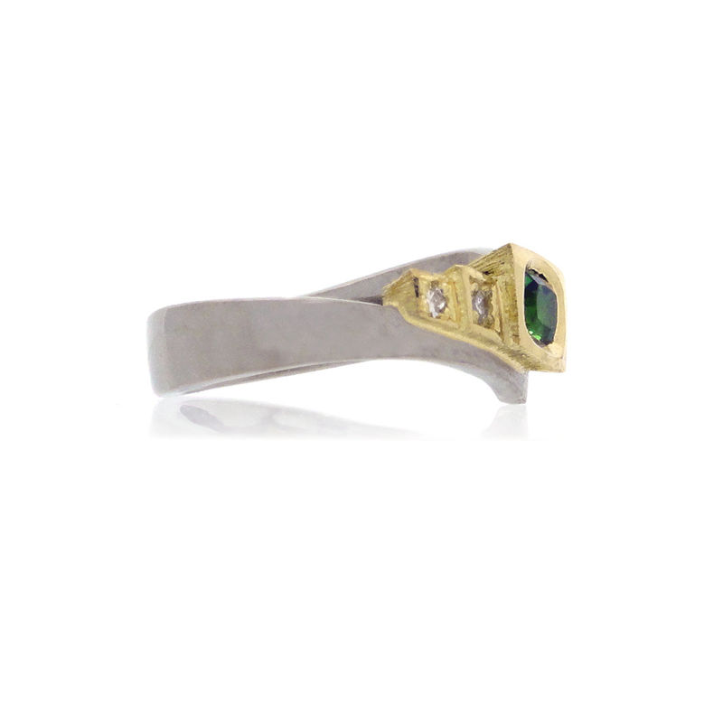 18k Yellow & White gold Ring with Tsavorite & Diamonds <br> - <i> commission only </i> - - product images  of