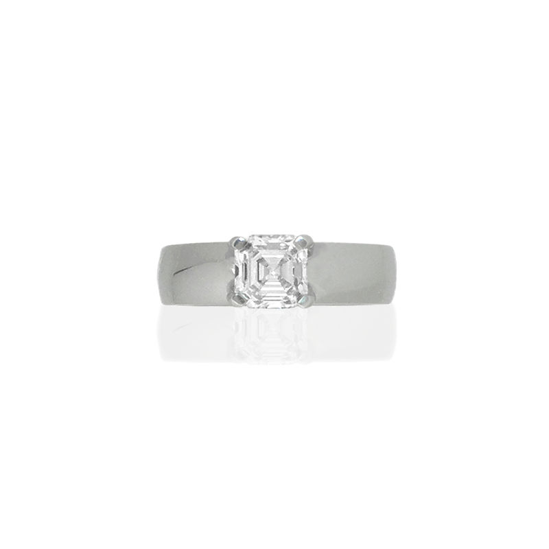 Platinum Engagement Ring with Asscher Cut Diamond (a recycled remake) <br>- <i> commission only </i> - - product images  of