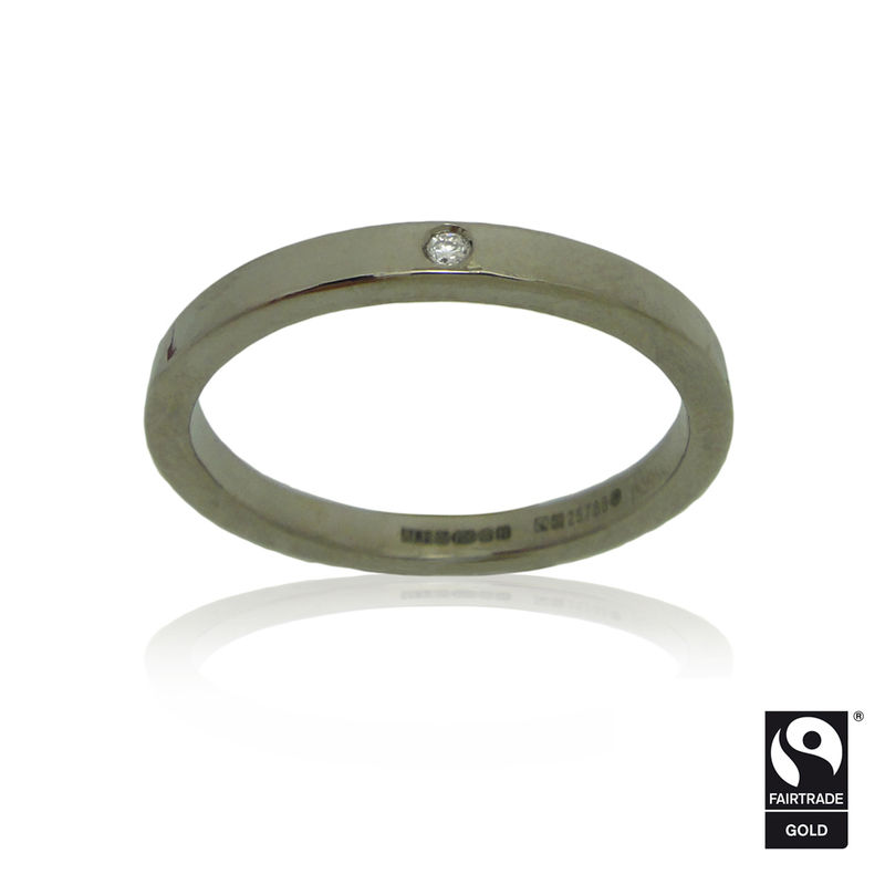 Fairtrade Gold<br>Flat Band with Hammered Finish & Ethical Diamond<br> - <i> commission only </i> - - product images  of