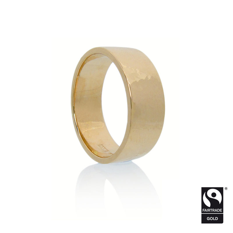 Fairtrade Gold <br>Flat Band with Hammered Finish <br> - <i> commission only </i> - - product images  of