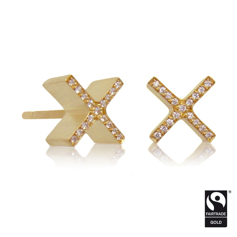 mini 'xx' earrings - 18k yellow Fairtrade gold micropave - product images  of