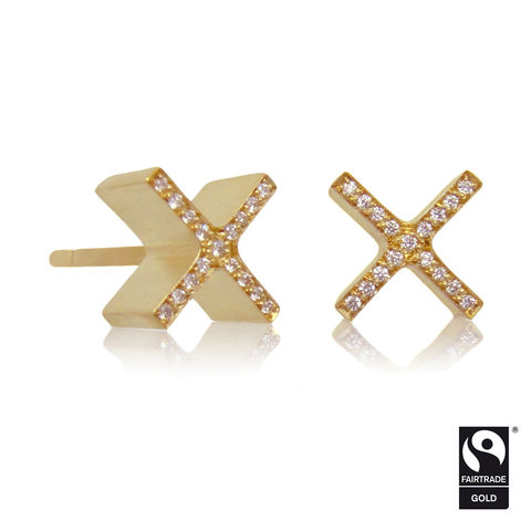 mini,'xx',earrings,-,18k,yellow,Fairtrade,gold,micropave,Earrings, 18k yellow gold earrings, Contemporary Jewellery, micro pave diamond earrings