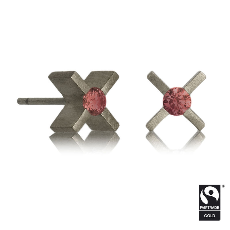 mini 'xx' earrings - 18k White Fairtrade gold with ethically sourced rubies - product images  of