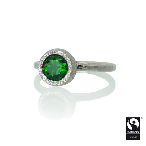 Fairtrade,Gold,Engagement,ring,with,Imperial,Diopside,-,commission,only,Fairtrade gold, engagement ring, unique engagement ring, alternative engagement ring, bespoke, commission, Fairtrade gold, Fairmined gold, ethical diamond, Imperial Diopside, Imperial Diopside ring, wedding band, contemporary, yellow, ros