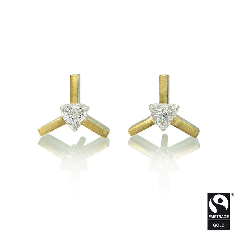 mini 'yy' earrings - 18k yellow Fairtrade Gold with trilliant diamonds - product images