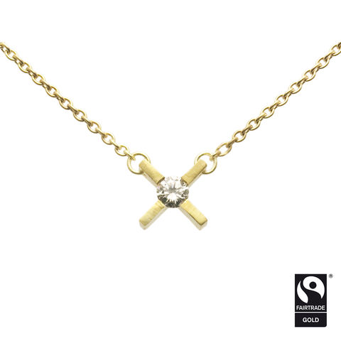 mini,'x',necklace,in,Fairtrade,Gold,with,Origin,Australia,diamond,Fairtrade Gold necklace, contemporary jewellery, x necklace, kiss necklace, ten year anniversary gift
