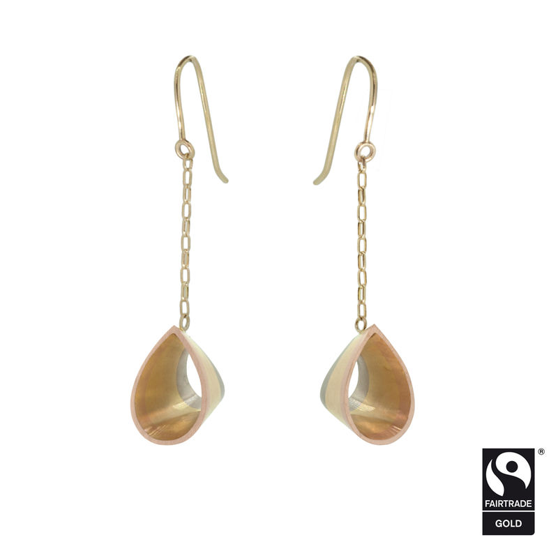 Tri-coloured tear drop earrings in Fairtrade Gold <br> - <i> commission only </i> -  - product images  of