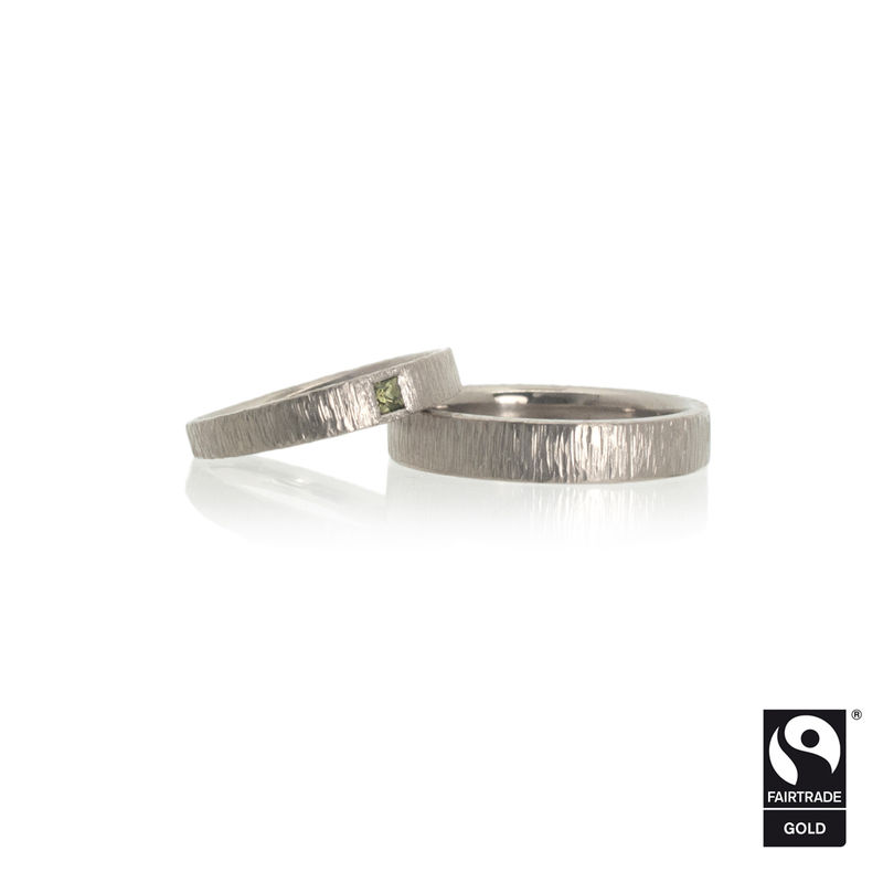 18k white Fairtrade gold wedding bands with linear hammering <br> - commission only - - product images  of