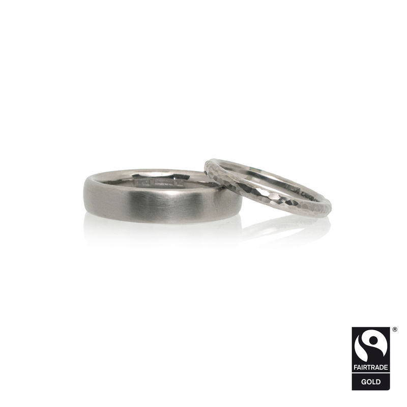 18k white Fairtrade gold wedding bands <br> - commission only - - product images